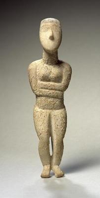 Cycladic figure, Early Spedos, c.2700 BC (marble) (see also 257633)