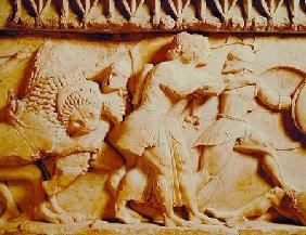Detail of the north frieze of the Siphnian Treasury depicting gods fighting giants c.525 BC
