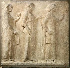 The Three Graces, relief from the Passage of the Theores, from Thasos c.470 BC