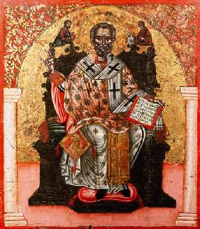 St. Nicholas enthroned, icon, from Thessalonica 17. Jh