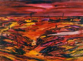 Landschaft in Rot 1991