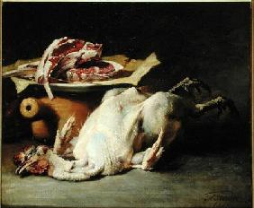 Still Life of a Chicken and Cutlets 1876