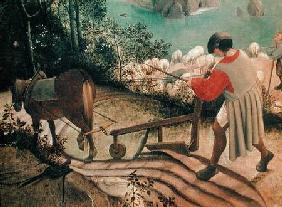 Landscape with the Fall of Icarus, detail of a man ploughing c.1555