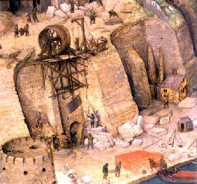 The Tower of Babel, detail of the construction works 1563