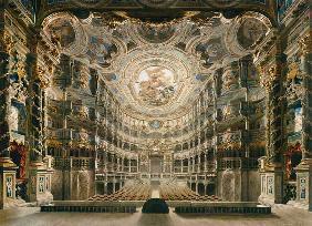 Kunstdruck von Gustav Bauernfeind - Innere Ansicht des Markgräflichen Opernhauses Bayreuth.