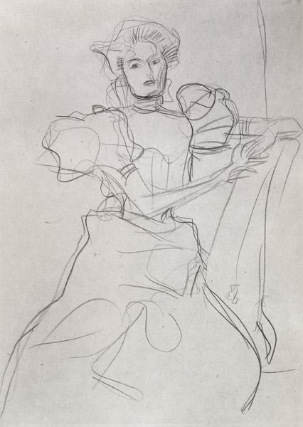 Seated Woman - Study for a portrait of Sonja Knips c.1898 (bl