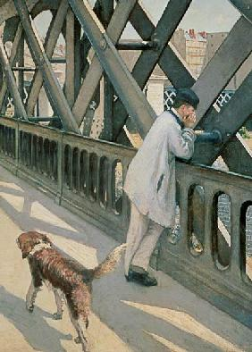 Le Pont de L'Europe: detail of a resting man and a dog 1876