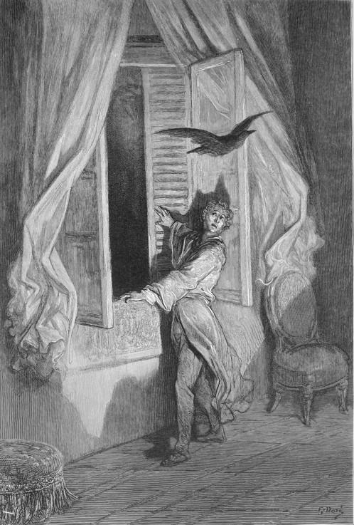 Illustration Zum Gedicht Der Rabe Von Gustave Doré Als