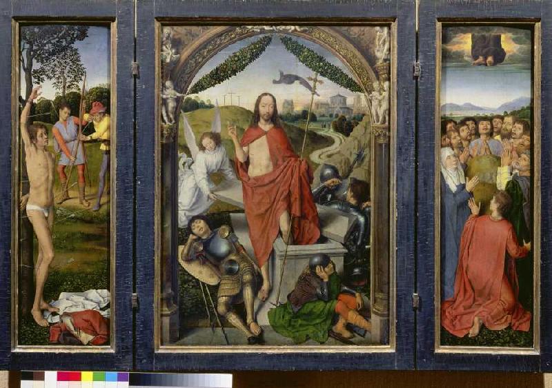 auferstehungsaltar triptychon hl seba hans memling als kunstdruck oder handgemaltes gem lde. Black Bedroom Furniture Sets. Home Design Ideas