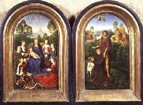 Diptych of Jean du Cellier: The Virgin and Child with Saints and the donor presented by St.John the c.1490