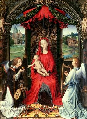Madonna and Child Enthroned with Two Angels