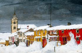 Strasse in Røros im Winter 1903