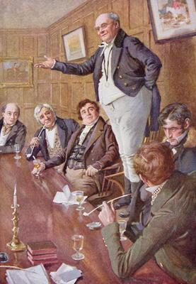 Mr Pickwick Adresses the Club, illustration for 'Character Sketches from Dickens' compiled by B.W. M
