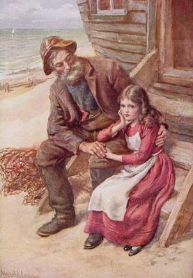 Peggotty and Little Emily, illustration for 'Character Sketches from Dickens' compiled by B.W. Matz, 16th