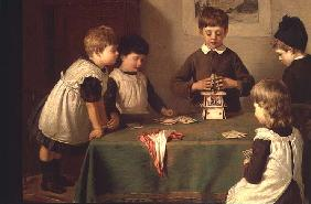 A Critical Moment, detail of children building a house of cards, 1889