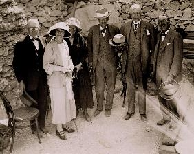 Howard Carter (1873-1939) and a group of Europeans standing beside the excavations of the Tomb of Tu