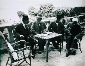 L to R: H.E. Abd El Aziz Yehieh Bey, Governor of Kena, Lord Carnarvon (1866-1923) Mohamed Fahmy Bey,