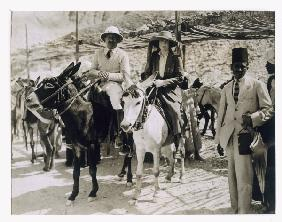 Lady Ribblesdale and Mr Stephen Vlasto arriving on donkeys at the Tomb of Tutankhamun, Valley of the