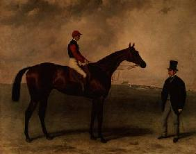 """Gladiateur"" with Harry Grimshaw up and his owner, Count Frederic de Lagrange"