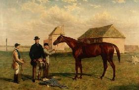 'Thunderbolt', a Chestnut Racehorse with his Owner and Jockey