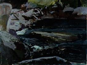 Flowing River (oil on canvas board) 17th
