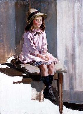 Portrait of a young girl in a pink dress and a straw hat (panel) 19th