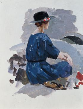 Woman in a blue dress and wide brimmed hat sitting upon rocks (oil on paper)