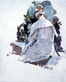 Woman in a white dress sitting upon rocks (oil on paper) 20th