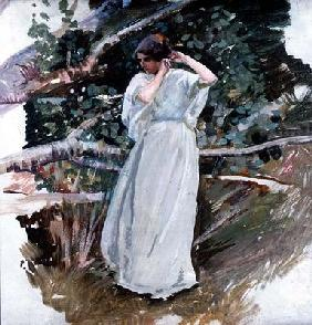 Young woman in a long white dress (panel) 19th
