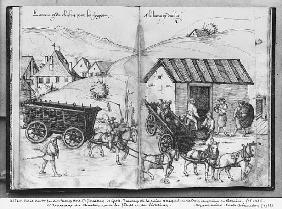 Silver mine of La Croix-aux-Mines, Lorraine, fol.5v and fol.6r, transporting and delivering coal for