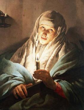 A Woman with a Candle and Cross