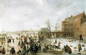 A Scene on the Ice near a Town c.1615