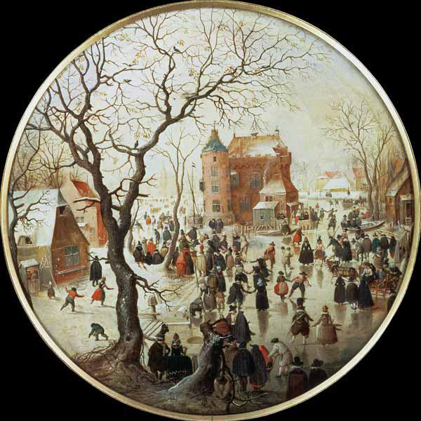 Winter Scene with Skaters near a Castle c.1608-09