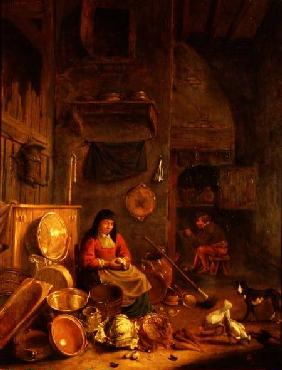 A Kitchen Interior with a Woman Peeling Potatoes beside a Dog, a Man Smoking in front of a Fire beyo