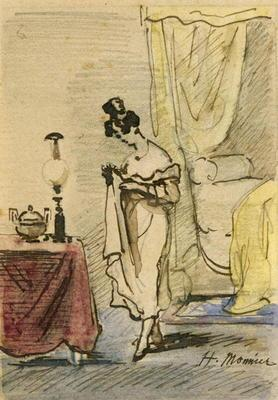 Young Lady at Home (ink & w/c on paper) 2:Jeune fille dans un interieur; intimite; 19th