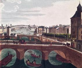 The Pont au Change and the Pont Notre Dame, c.1815-20 (colour engraving) (detail of 220485) 19th