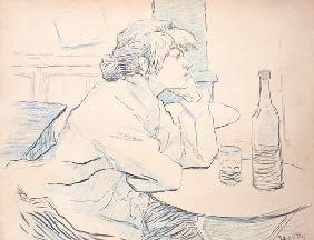 Woman Drinker, or The Hangover, 1889 (ink and coloured pencil) 17th
