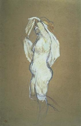 Woman Lifting her Shirt 1896  card