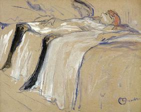 Woman lying on her Back - Lassitude, study for 'Elles' 1896  card