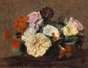 Bouquet of Roses and Nasturtiums 1883