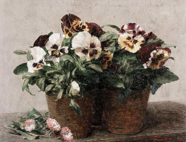 Still Life of Pansies and Daisies 1889