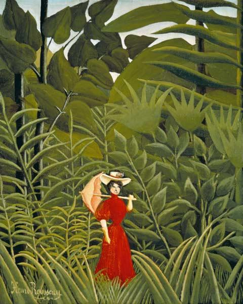 Woman in Red in the Forest c.1907