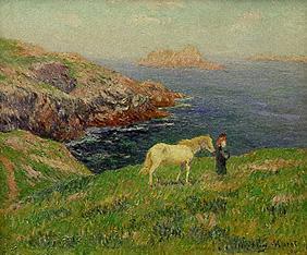 Kunstdruck von Henri Moret - Bäuerin mit Pferd an der Küste von Ouessant.