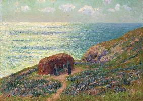 Kunstdruck von Henri Moret - Ramasseuses De Goemon A Moelan, Bretagne  Henry Moret (1856-1913) Oil On Canvas  25 3/4 X 36 1/4 In