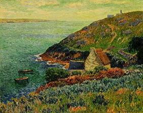 Kunstdruck von Henri Moret - Steilküste mit Haus.