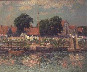 Kunstdruck von Henri Moret - On the banks of a river in Holland