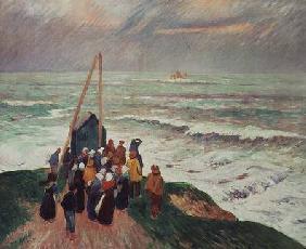 Kunstdruck von Henri Moret - Waiting for the Return of the Fishermen in Brittany