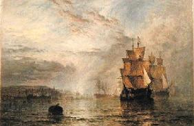 Shipping Becalmed in an Estuary at Evening 1878