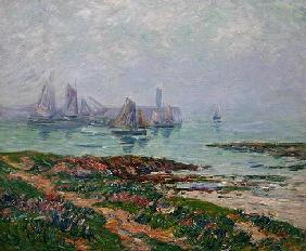 Coastal scene with fishing boats, 1912 (oil on canvas) 13th