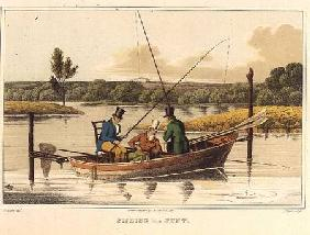 Fishing in a Punt, aquatinted by I. Clark, pub. by Thomas McLean 1820